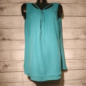 City Chic Turquoise Tank with Zip Front